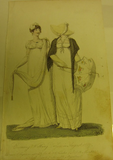 Fashion plate from an early women's magazine, La Belle Assemblée, August 1807. TWCMS: 2006.4768.21