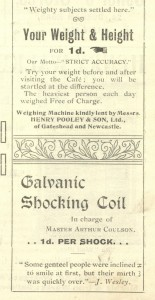 Advert from the Great Bazaar programme, Southern Memorial Hall, Low Fell, 1-3 June 1910 (TWAM ref. C.GA17/17/2)