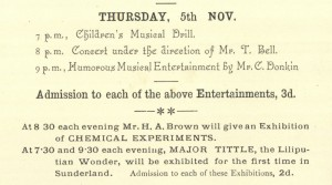 Grand Bazaar programme, Dock Street United Methodist Free Church, Sunderland, November 1891 (TWAM ref. C.SU18/27/3)