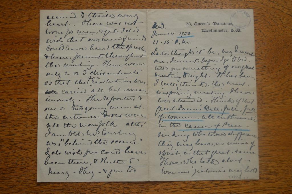 Description by Elizabeth Spence Watson of a women's peace rally she attended in London, 19 June 1900