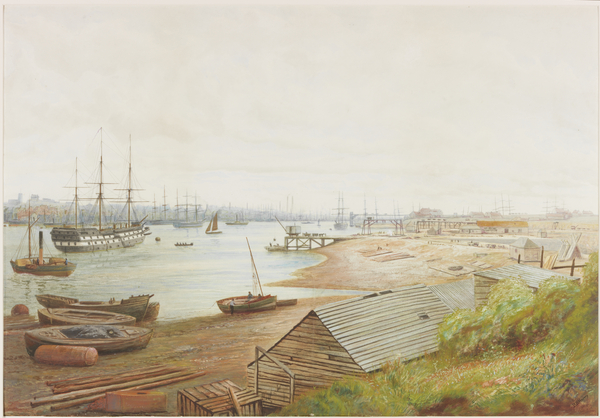 River scene c1880 with Wellesley moored off Coble Dene, North Shields in a watercolour by B B Hemy.