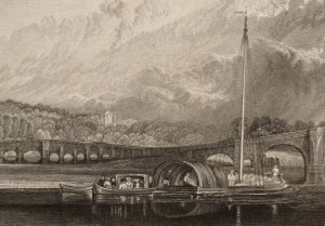 After Joseph Mallord William Turner, Walton Bridge, on Thames, Surrey (detail), engraved by J.C. Varvall, published 1830 © Tate