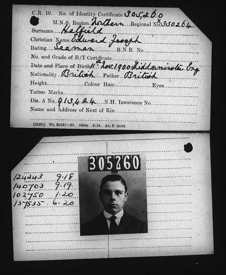 Edward Joseph Hatfield's Merchant Navy identity card