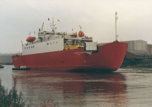'Superflex Bravo' after its launch by North East Shipbuilders, Southwick Yard, 10 August 1987 (TWAM ref. DS.NES/4/PH/1/1)
