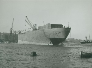 Launch of the aftpart of the tanker 'Rondefjell' by John Crown & Sons Ltd, 1951 (TWAM ref. DS.CR/4/PH/1/233/2/4)