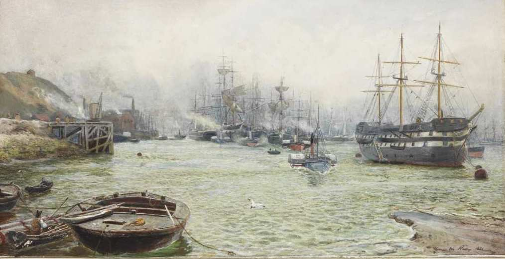 View of the Tyne featuring Wellesley at her mooring off Coble Dene. Watercolour by T M Hemy d1881