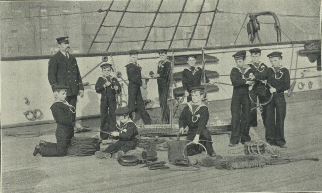 Boys in a practical seamanship class