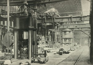 View of hydraulic forging presses in a bay at the Elswick Steel Works (TWAM ref. 5484)