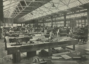 Workers in the sawmills at the Scotswood Works (TWAM ref. 5484)