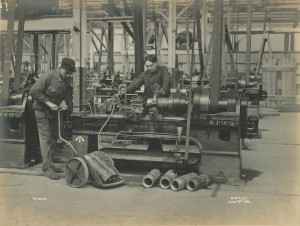 View of two Belgians at work in the National Projectile factory, Birtley, June 1916 (TWAM ref. 1027/271)