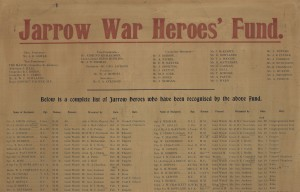 Top of poster showing officials and committee members of the Jarrow War Heroes' Fund (TWAM ref. T27)
