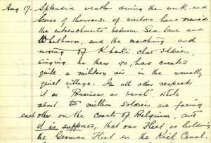 School log book entry, 17 August 1914 (TWAM ref. E.WH2/2/3)
