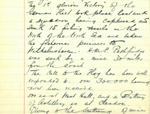 School log book entry, 7 September 1914 (TWAM ref. E.WH2/2/3)