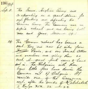 School log book entry, 14 September 1914 (TWAM ref. E.WH2/2/3)