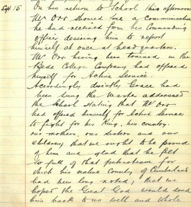 School log book entry, 15 September 1914 (TWAM ref. E.WH2/2/3)