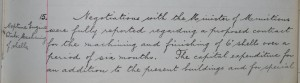 "Board minutes of Swan Hunter & Wigham Richardson reporting on negotiations to start machining and finishing 6"" shells."