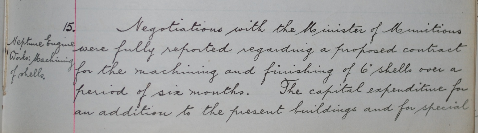 """Board minutes of Swan Hunter & Wigham Richardson reporting on negotiations to start machining and finishing 6"""" shells."""