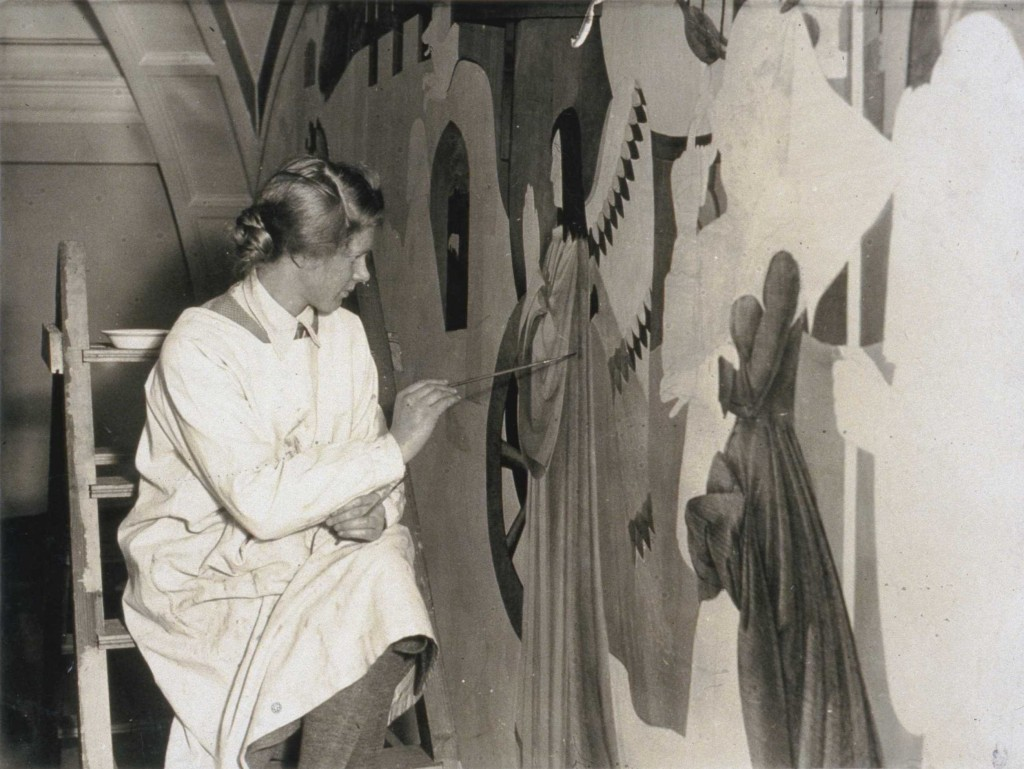 Louisa Hodgson painting Laing mural - Copy