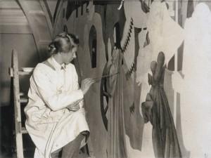 Louisa Hodgson painting Laing mural - Copy