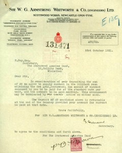 Letter to the Secretary of the Scotswood Apaches, 23 October 1931 (TWAM ref. DS.VA/2/22/4).