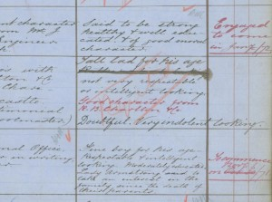 Comments on the apprenticeship application of Francis Wright, (TWAM ref. DS.VA/2/35 p128).