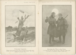 There was an exhibition of drawings by Bruce Bairnsfather at South Shields Museum in 1917-18 which was very popular, the drawings were humorous depictions of life at the front.