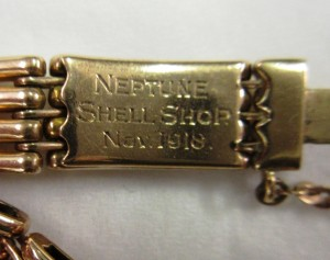Inscription on the clasp of Jane Ellen Bell's bracelet.