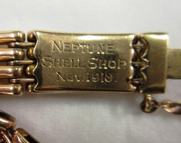 Inscription on the clasp of Jane Ellen Bell's bracelet.