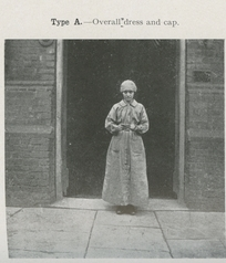 Woman worker in Overall Dress and cap.
