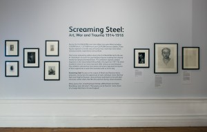 Portraits of various war artists and poets in Screaming Steel: War, Art and Trauma. This exhibition took place at the Hatton from September till December 2014. Photo: Colin Davison.