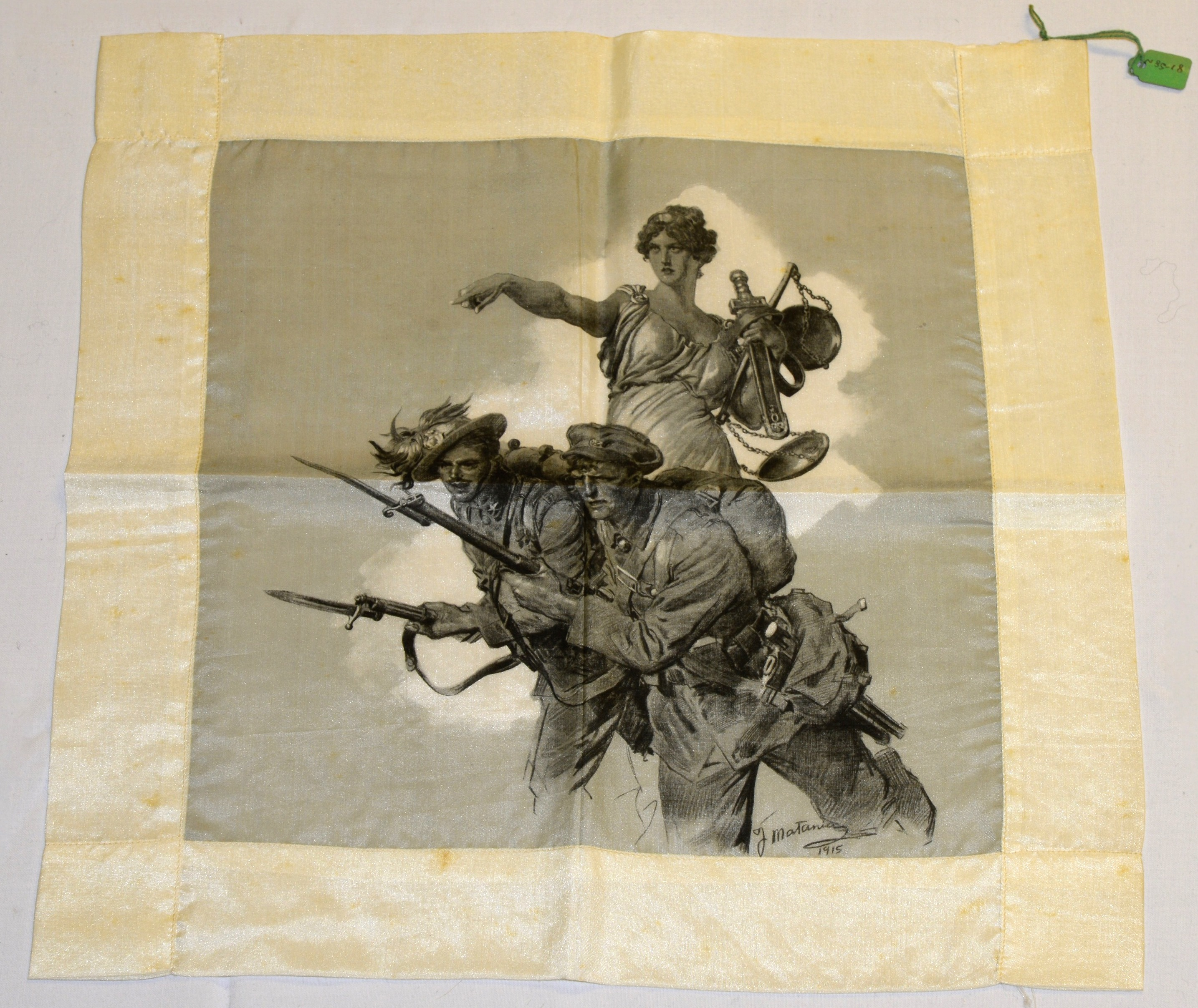 Handkerchief designed by Fortunino Matania, part of the collection of the Discovery Museum