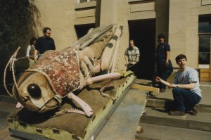 Some monster creepy crawlies entering the museum for an exhibition in 1995. Eric Morton, taxidermist, can be seen at the far left.