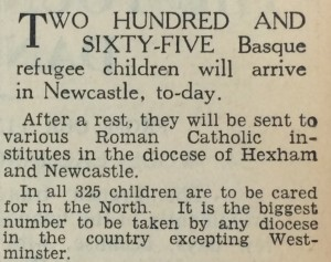 North Mail June 29 1937 265 Basque Refugees arrive today