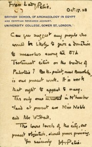 Letter from Lady Hilda Petrie concerning donations to the BSAE in 1928
