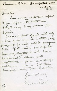 1929 letter from Sir Flinders Petrie to T. Russell-Goddard, responding to his questions as to the nature of the Egyptian statue photographed here