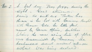 Whitburn School log book entry, 2 November 1914 (TWAM ref. E.WHB2/2/3)