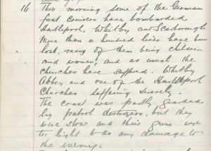 Whitburn School log book entry, 16 December 1914 (TWAM ref. E.WHB2/2/3)