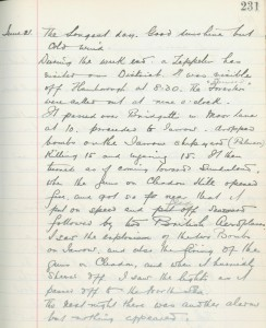 Whitburn School log book entry, 21 June 1915 (TWAM ref. E.WHB2/2/3)