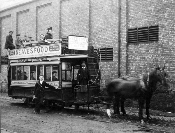 STH0000454. South Tyneside Images. c1900. Horse drwan tram on the route from the Pier Head to Tyne Dock.