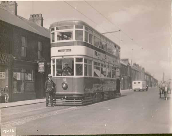 STH0001825. Copyright South Tyneside Images/Amy Celia Flagg.  Tram at Mile End Road, 1930's.