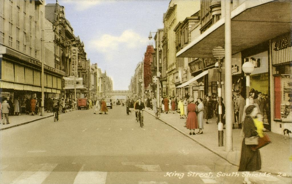 TWCMS : 2009.2375. Postcard from the collections at South Shields Museum and Art Gallery. View of King's Street from the Market/Old Town Hall end.