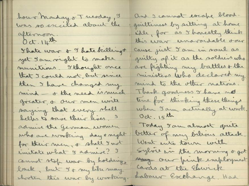 An excerpt from the diary of Ruth Dodds