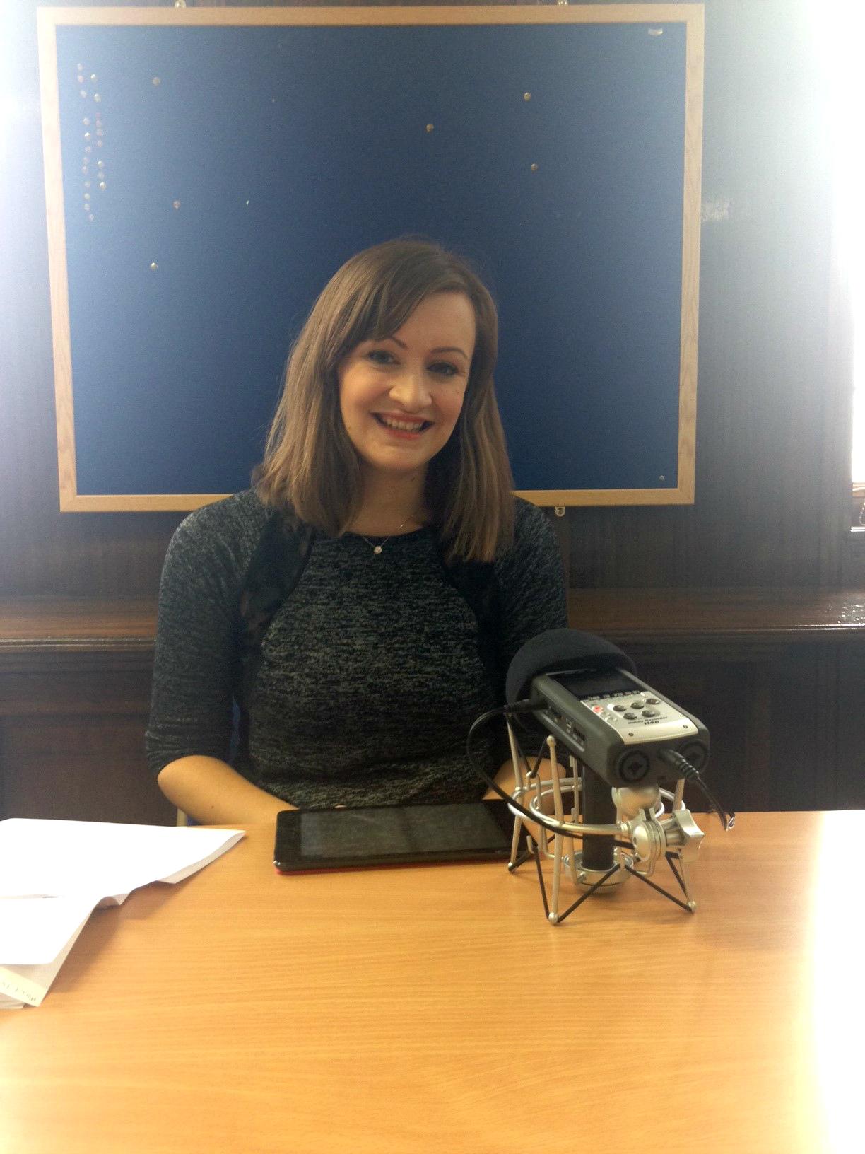 BBC's Jennifer Bartram recording bespoke weather reports