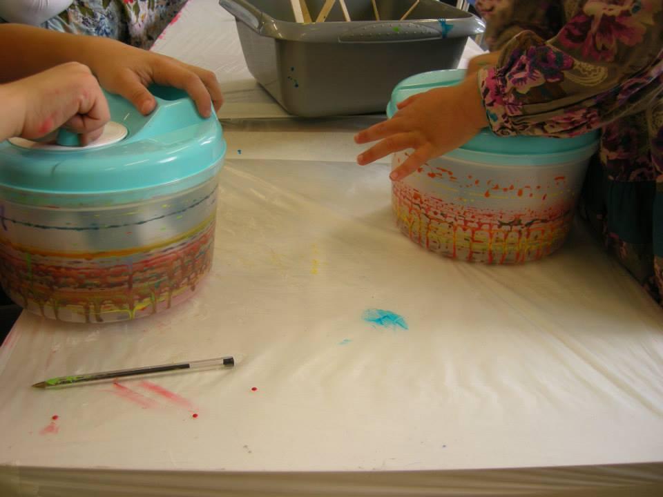 Salad spinner artworks being made