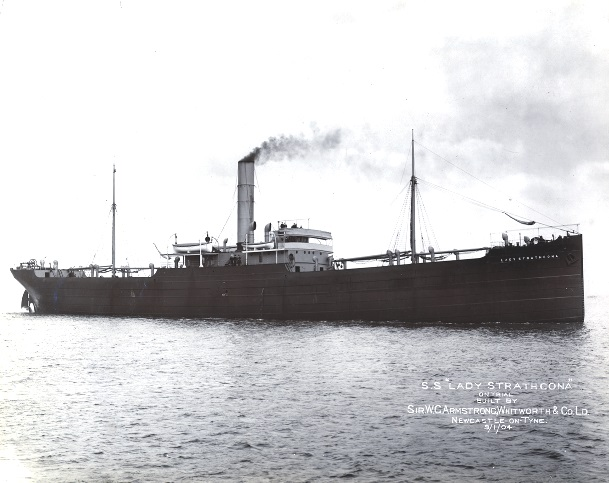 Photograph of ss Lady Strathcona on trials 1904. The problem posed by smoke from the funnel is obvious. Renamed Wairuna she was captured by the German surface raider SMS Wolf and scuttled with explosives 17/06/1917. (TWCMS : G7951G