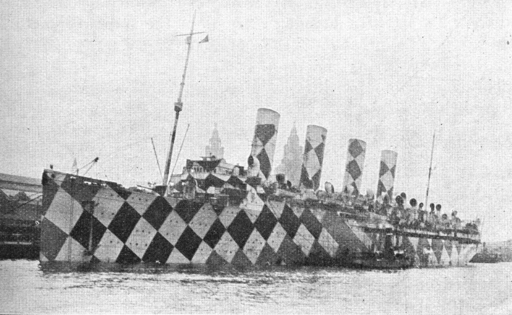 4. Photograph of RMS Mauretania that Wilkinson used to show the chequered pattern of dazzle design.