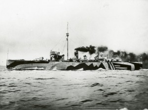 9.Photograph of dazzle painted '24' class sloop HMS Flying Fox on her sea trials. You can see the double bridge arrangement that adds to the confusion, and painted hawse pipe and anchor at the stern are also just about visible. The smoke is a bit of a giveaway, but this is clearly a maximum speed trial and she wouldn't be making this much smoke when escorting a convoy. (Image courtesy of Ian Rae)