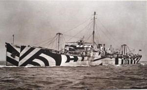 5.Photograph of dazzle painted standard cargo ship ss War Climax on trials September 1918. She survived the First World War but during the Second World War, renamed Rokos, she was wrecked after being bombed at Suda Bay, Crete, 26/05/1941. (TWCMS : 2001.3700-x)
