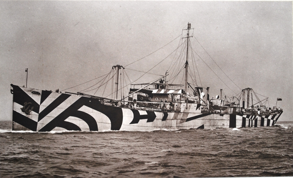 5. Photograph of dazzle painted standard cargo ship ss War Climax on trials September 1918. She survived the First World War but during the Second World War, renamed Rokos, she was wrecked after being bombed at Suda Bay, Crete, 26/05/1941. (TWCMS : 2001.3700-x)