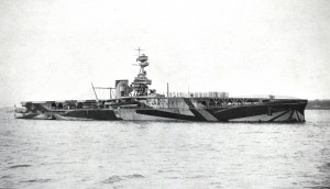 8.Photograph of dazzle painted aircraft carrier HMS Furious, probably taken in 1918. Designed as a battlecruiser she was built at Armstrong Whitworth's High Walker shipyard on the Tyne and modified as an aircraft carrier before completion. Her turbine engines were by the Wallsend Slipway and Engineering Co. Ltd. (TWCMS : 2011.693 – Booklet The Wallsend Slipway and Engineering Co. Ltd. – A 50 Years Retrospect)